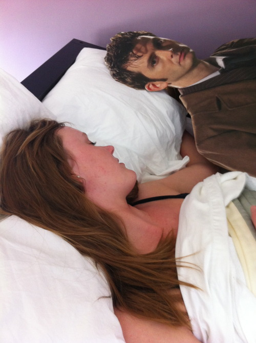 idiscoverediminlovewithyou:  oneasspluscas:  possessed-pie:  great-gallifrey:  spent a day with david tennant today  Oh my God the the third one  GOBLET OF FIRE  this is the best ever  That's Deathly Hallows, not Goblet of Fire. She should've done GoF though. That would have been hilarious!!