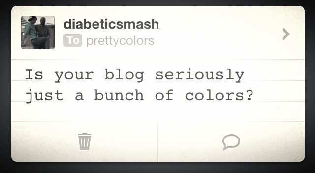 topherchris:  All blogs are just a bunch of colors. These colors are often arranged into shapes which represent letters in the alphabet of a written language. And cats.