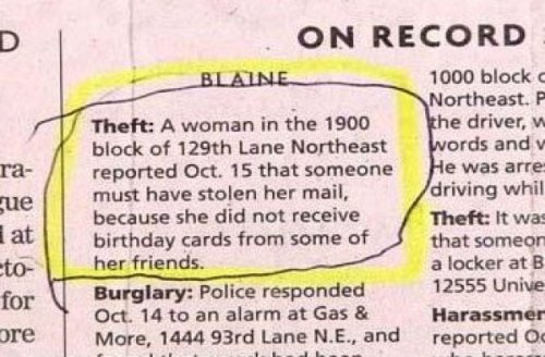 collegehumor:  The Saddest Police Report about Stolen Mail SHH!  Yes, its the only logical explanation.