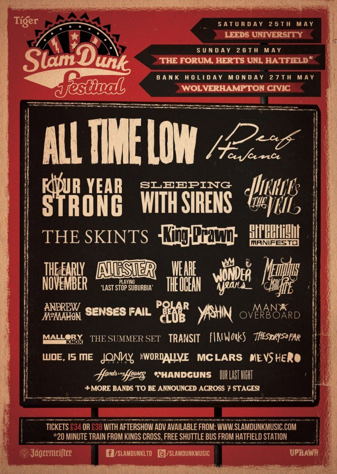 Slam Dunk Festival has expanded again, with the following bands being added to its line-up: Deaf Havana, King Prawn (first show in 10 years!), Allister (playing 'Last Stop Suburbia' in full!), Transit, Yashin, Jonny Craig, Me Vs Hero, The Word Alive, and Our Last Night   An updated line-up poster is attached.