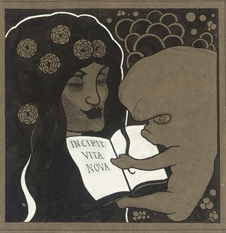 zombienormal:  Incipit Vita Nova: Here Begins a New Life, Aubrey Beardsley (1872-1898). (Christie's London, 2008) That is one mean-looking fetus. Via.  So strange….Does that lady have a 5 o'clock shadow?