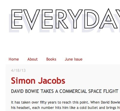 "I have a new David Bowie poem on Everyday Genius today. This one is called ""David Bowie Takes A Commercial Space Flight."" (features space)"