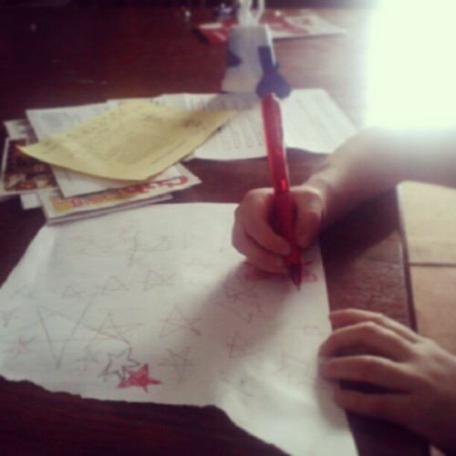 Teaching my littlest sweetie how to draw stars  :-)