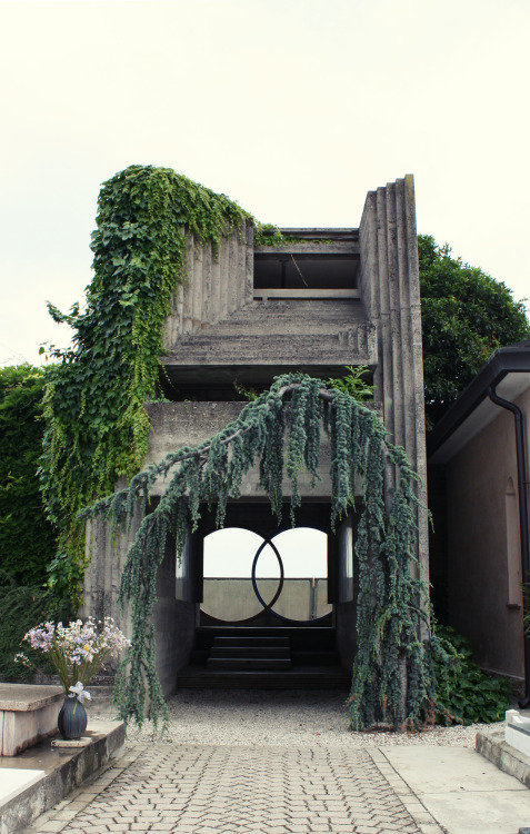 Entrance to Brion Cemetery by Carlo Scarpa The entryway represents the otherworldly architectural style of Carlo Scarpa, who used equally dramatic plant material to drape his concrete masterpiece (completed in 1978 before his accidental death). The Brion family founded Brionvega in 1945, an electronics manufacturing company. The cemetery is located at San Vito d'Altivole near Treviso, Italy.