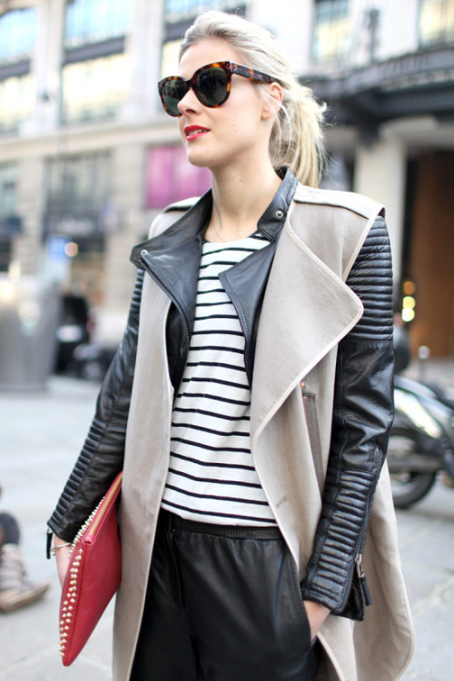 bitchinbags:  layer a vest over a leather jacket for a new look