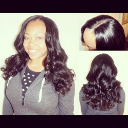 My client Kelly — full weave with lace closure. 2 packs of XQ Cuticle Remy, closure from Giovanni & Son. #nigerian #hairstylist #remyhair #weave #extensions #laceclosure