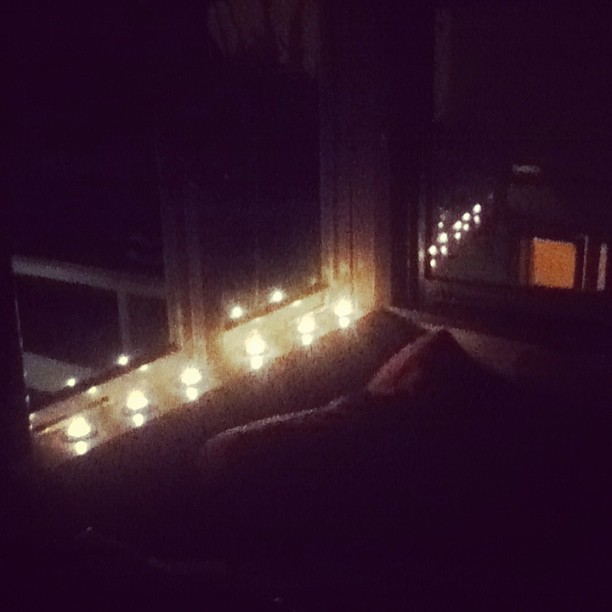 Candles on the windowsill for Mum (at Copeland Street)