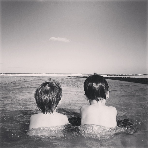Too cute. #sunshinecoast #ocean #holidays #boys #queensland #cute (at Stumers Creek)