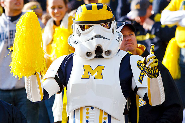 A Michigan Wolverines fan shows his support as a stormtrooper during a football game against the Iowa Hawkeyes last November. Saturday was Star Wars Day. (Scott Graul/Icon SMI) GALLERY: Star Wars and Sports