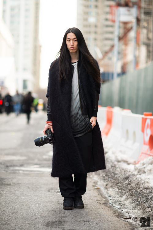 Me on Le21eme by Adam Katz Sinding mohair coat : Verlaine leather jacket : Yigal Azrouel  shirt : Ann Demeulemeester pants : Comme des Garcons Homme Plus boots : Rick Owens