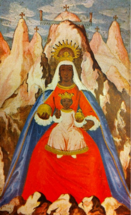 A miniature of Our Lady of Montserrat, who is venerated in a famous Marian shrine near Barcelona.