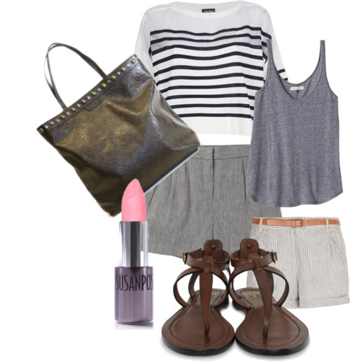 Summer Look! by queenbeebeverlyhills featuring a stripe shirt