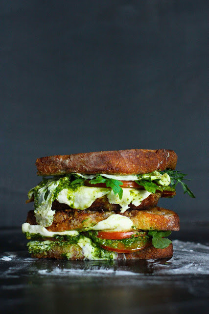in-my-mouth:  Caprese Grilled Cheese with Arugula Pesto
