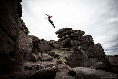 Chris Rowat moving amongst the rock-strewn terrain of the Peak District, England. Come and train with us at Spring Thing on 25th/26th May.