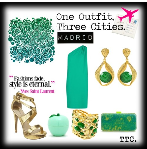One Outfit.Three Cities.Madrid. Emerald por threetrendycorners con amrita singh banglesMango asymmetrical dress / Nine West platform sandals / Zara box clutch / Amrita Singh  bangle / Amrita Singh  earrings / Lip treatment / Cream postcard jewellery roll, $18