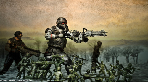 Toys Advancing on Flickr.Kill Zone infantry dude advancing with an army of plastic men, hunting out the La Dee Da.