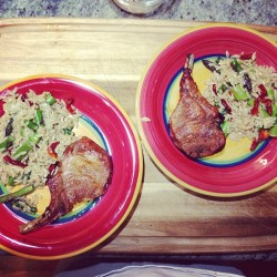 Pork chops and orzo asparagus summer salad.