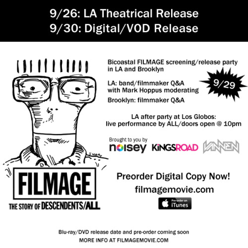 the wait is finALLy over.  you can pre order Filmage today and gets lots of cool things.  or you can come to one of our screening / release parties in NY or LA.