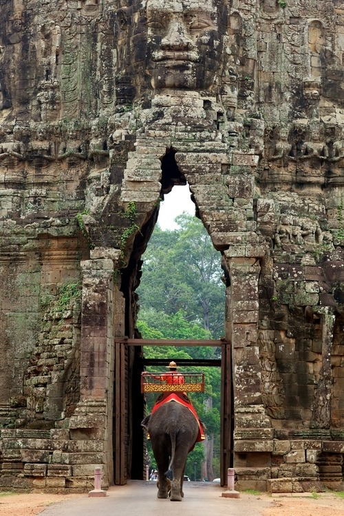 "wonderous-world:  Through The Gate by  Stephen Bures Angkor Thom (literally: ""Great City""), located in present day Cambodia was the last and most enduring capital city of the Khmer Empire."