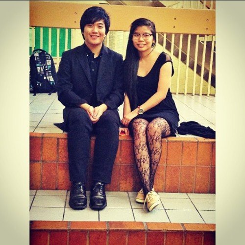The only picture I have before our last Choir Performance. With @jap71796 #lateupload #lastweek #choir 😁👊🎼🎤🎶👓👗