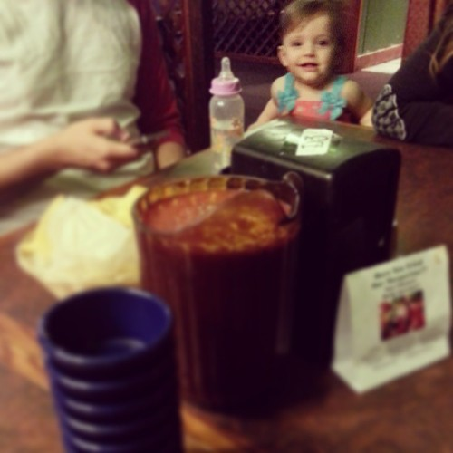Ever seen a baby so excited about a pitcher of salsa?