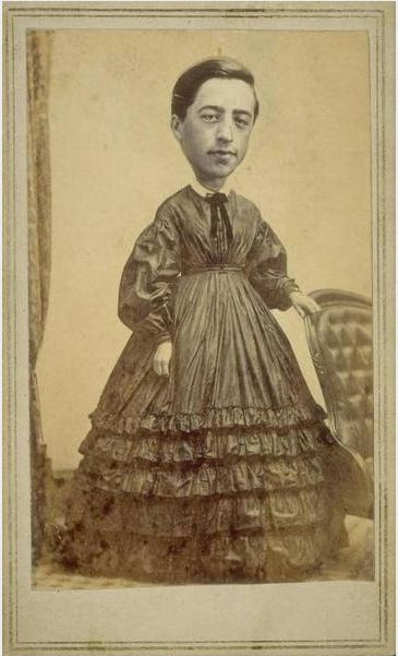 ca. 1860's, [trick carte de visite portrait of a figure with a gentleman's head superimposed onto a woman's body], E.A. Scholfield via Connecticut History Online, Mystic Seaport, Scholfield Collection
