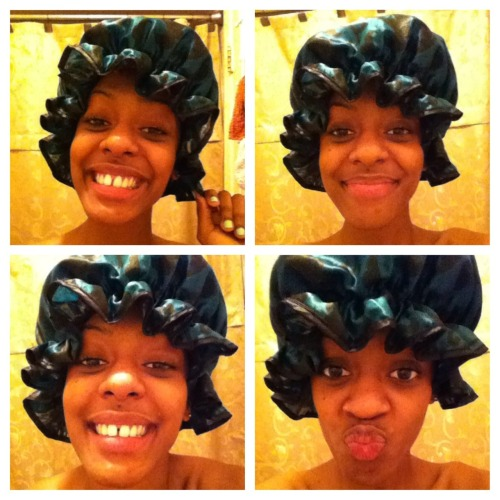 🛀time! my sister always laughs at me wen I wear this shower cap😁lol