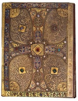 centuriespast:  Gilt silver, enamel, and jeweled bookcover[Probably Salzburg, ca. 760–90]Earlier binding used as lower cover on Lindau Gospels, Abbey of St. Gall, Switzerland, late ninth century The Morgan Library