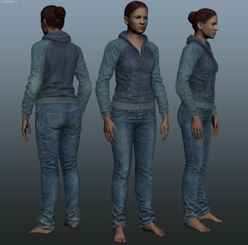 Female version for the hoodie and jeans - all clothing is unisex
