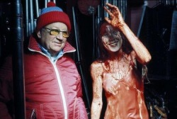 "Sissy Spacek very shortly after being doused in blood on the set of ""Carrie"""