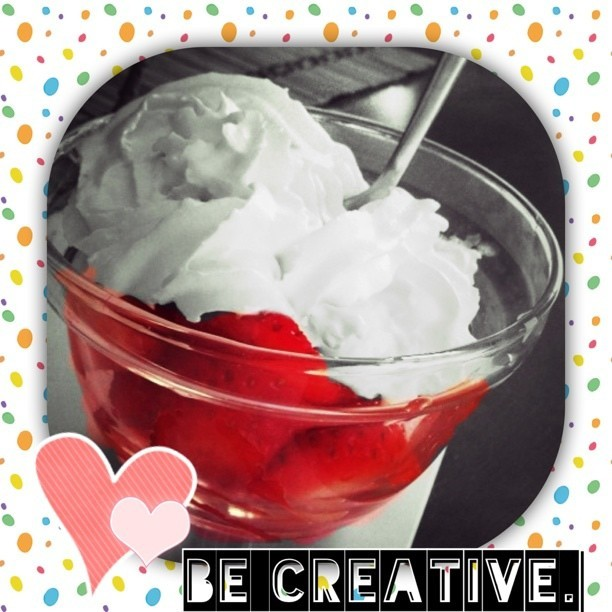 Be creative. Be happy. Be you. #Moldiv #strawberry #hearts #black&white #red #cream #desserts #eating #happy #yummy #tasty #delicious #becreative #behappy #beyou #edit #photoedit #instamoments #instagram #littlethings #dots #colorful #likeapro #1D #TaylorSwift #spoon