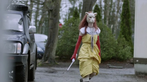 Watching Black Mirror when a Hotline Miami cosplayer turned up.