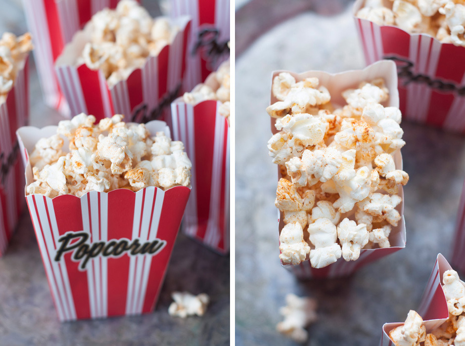 If you're having an Oscar Party this weekend and want to make something quick and tasty, spice up some popcorn with this simple recipe. Just put all the ingredients in a big plastic produce bag and shake-em-up!  I made another batch using my homemade Garlic Herb Salt. This Smitten Kitchen Spicy Caramel Popcorn Recipe also looks delish! A couple other appetizer ideas: Asparagus tart - with brie on a store-bought puff pastry. Soooo simple (and impressive!) Zatar Flat Bread - pizza dough dusted with Middle Eastern spices and dipped in greek yogurt Stuffed Sweet Peppers - with a filling of pesto and avocado Can't wait to get my red carpet viewing on…May the best picture win!