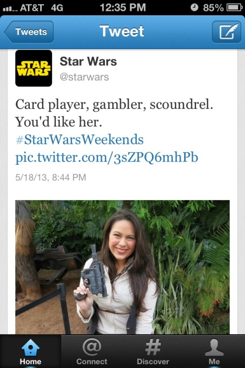 HOLY CRAP! The Star Wars Twitter account posted a picture of me as Han Solo from yesterday! Ahhhhhh! :D