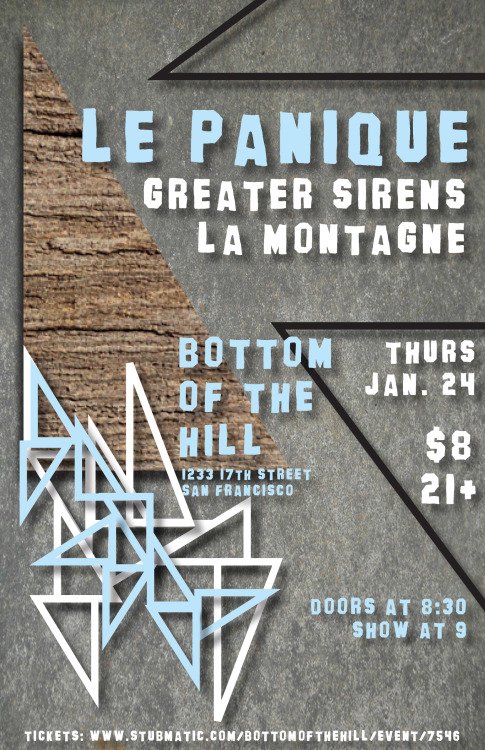 Don't miss our show with Le Panique and La Montagne tomorrow night at Bottom of the Hill in SF! Buy tickets here: http://www.stubmatic.com/bottomofthehill/event/7546