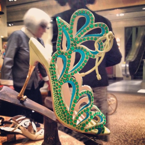 bergdorfgoodman:  Gladiators in green. By @nicholaskirkwood #bgshoes (at Bergdorf Goodman)