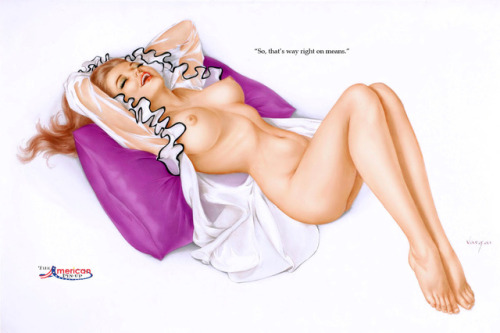 "Alberto Vargas - March 1971 Playboy Magazine Vargas Girl Illustration - ""So, that's what right on means."""