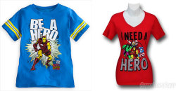 fashiontipsfromcomicstrips:   New Marvel T-Shirts Tell Boys They Can Be Heroes, And Girls That A Hero Will Save Them By Joseph Hughes Following the success of the Avengers film, and with Iron Man 3 set to hit theaters next month, the characters who make up Marvels Avengers team are more recognizable than ever. Naturally, the publisher is taking advantage of that fact via merchandise, including the two t-shirts pictured above. Of course, aside from the cut of the shirts, the second you look at them you instantly know which is meant for boys and which is for girls, and therein lies quite a problem. These are Marvel's characters, the foundation of their company. As such, these products represent them, not the manufacturers. When people see this, and are (rightfully) bothered by it, they aren't going to care what middle man made the shirts. They're going to instantly direct their ire toward Marvel, as it it will look to them as if Marvel is telling boys they can be heroes, and telling girls that, if they're lucky, a hero will come save them.  READ MORE