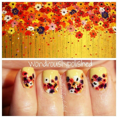 ohwondrous:  My poppy nail art inspired by this awesome painting!