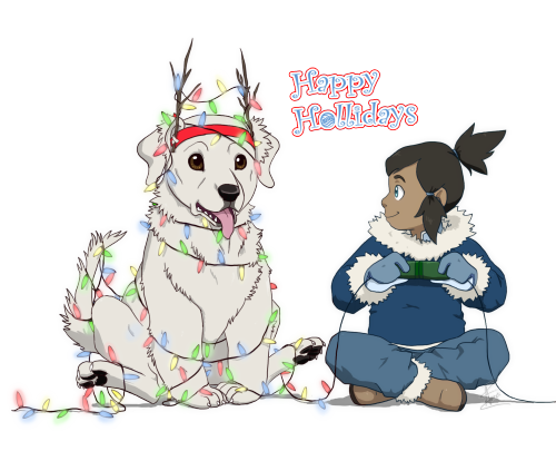 f1n4lh34rt5x:  Late christmas works here's a little Korra and Naga playing with the decorations (c) FinalHearts10