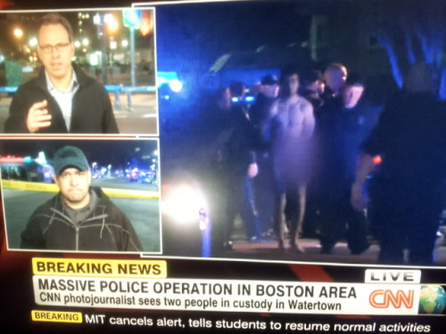 inothernews:  A man, taken into custody by police in Watertown, MA, was forced to take his clothes off before being placed inside a patrol car.