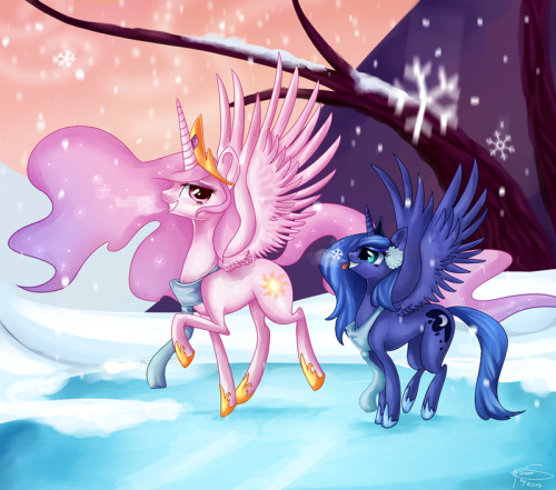 mlpfim-fanart:  .::Sisters on Ice::. by ~Flower-Shy