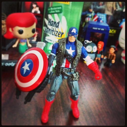 Newest addition to my desk friends. #captainamerica #marvel