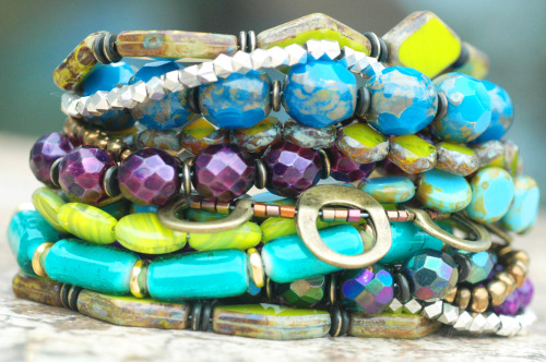 Custom Purple, Green and Blue Glass Cuff Style Bracelet contact me for your own custom piece of jewelry