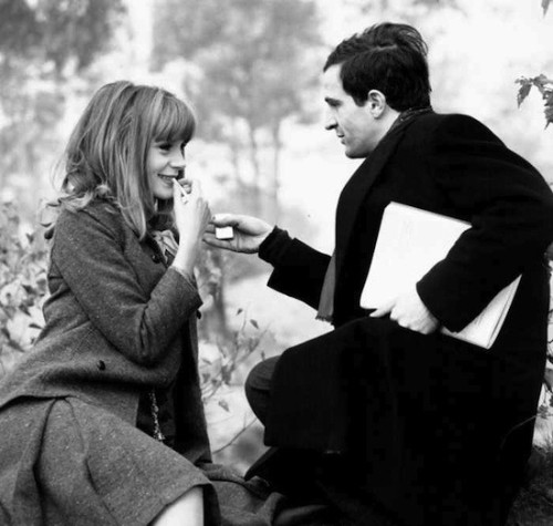 "languagethatiuse:  Mr. Francois Truffaut and Ms. Francoise Dorleac during filming of the 1964 film ""The Soft Skin""."