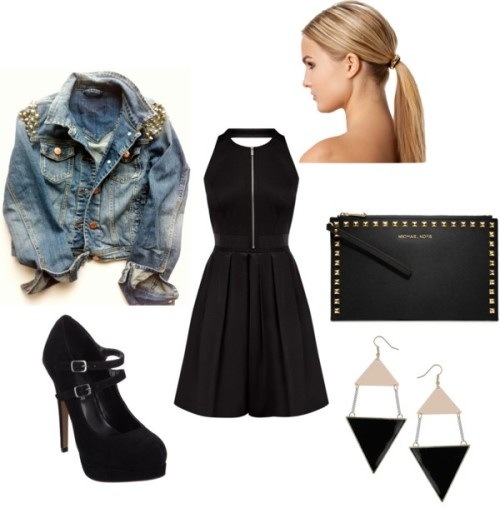 Out with Zayn by lydia-willig featuring deco jewelryStudded jacket / Mary jane shoes, $95 / MICHAEL Michael Kors  / Miss Selfridge deco jewelry / Hair accessory, $18