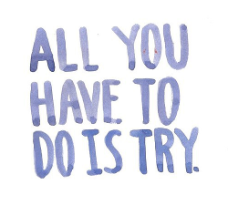 """All you have to do is try."""