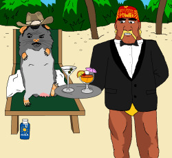 jimllpaintit:  Dear Jim, Please paint me a guinea pig version of Burt Reynolds on a sun lounger being served drinks by Hulk Hogan wearing only the top half of a tuxedo. Thanks, littlecthulhu