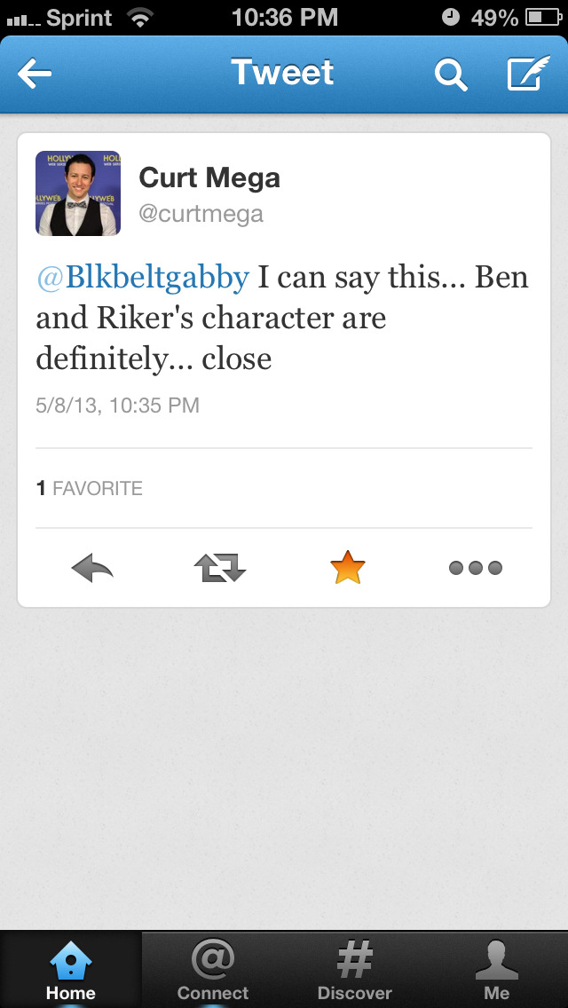 killerwarbler:  I asked if Ben and Riker's character would be best friends and Curt said this!