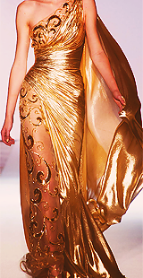 twodayslow:   Zuhair Murad Spring 2013 Couture  This just gave me hope that my ball dress may not be as insane as I think it is. Thank god that gold sequins are in this season